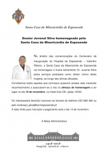 Doutor Juvenal Silva homenageado pela  Santa Casa da Misericórdia de Esposende